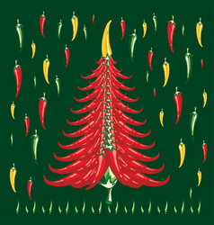 new year cristmas red hot pepper creative tree vector image