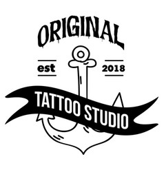 original tattoo studio ribbon anchor background ve vector image
