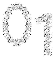 ornamental number 01 vector image