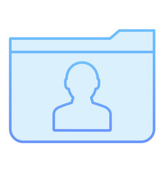 Personal folder flat icon member folder blue vector