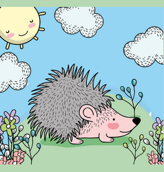 Porcupine animal with plants and happy sun vector