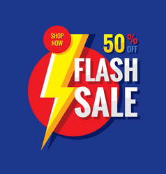 sale flash 50 off - concept badge banner vector image