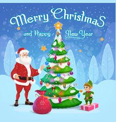 santa and elf decorating christmas tree vector image