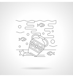 Seabed with amphora detailed line icon vector