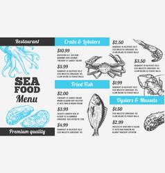 Seafood menu hand drawn marine fresh fishes vector