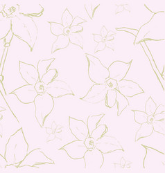 seamless pattern with narcissus daffodil vector image