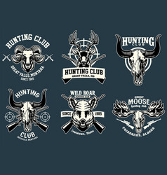 set bundle badge design hunting animal vector image