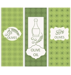 Set linear olive flyers ornament vector image vector image