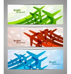 Set of banners with airplanes vector image