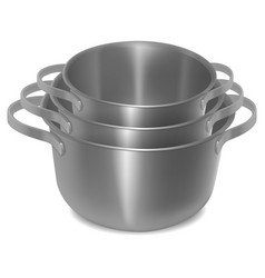 set of empty steel pots isolated image realistic vector image