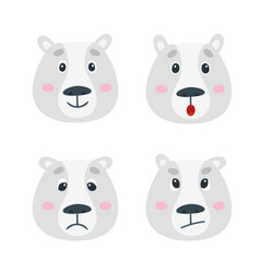 Set with polar bear emotion faces cute vector