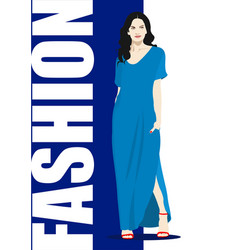 Silhouette fashion woman in blue vector