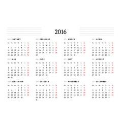 Simple Calendar for 2016 12 Months Week Starts vector