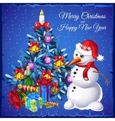 Snowman with Christmas tree and gifts vector image