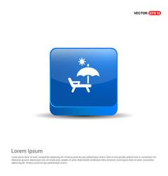 Sun bath icon - 3d blue button vector