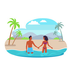 Suntanned couples hold hands and stand in sea vector