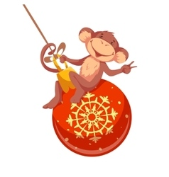 Sweet monkey with christmas toy for 2016 new year vector
