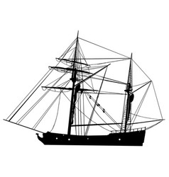 tall sailing ship silhouette vector image