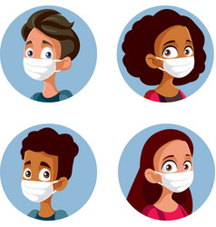 Teens wearing face masks during pandemic set vector
