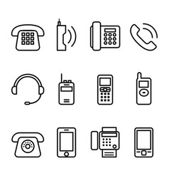 telephone smart phone fax icon set in thin line vector image