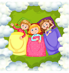 three girls sleeping on grass vector image