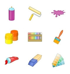 Tools for painting icons set cartoon style vector