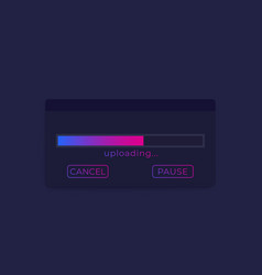 Upload window with progress bar ui design vector