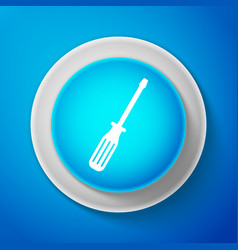 white screwdriver icon isolated on blue background vector image