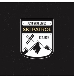 Winter ski patrol Label with ski equipment and vector image