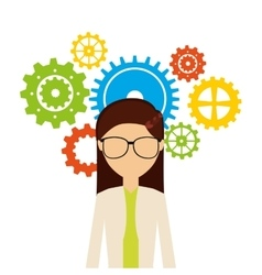 Woman avatar with gears machine icon vector