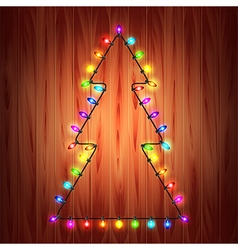 Christmas lights as fir tree holiday concept vector image