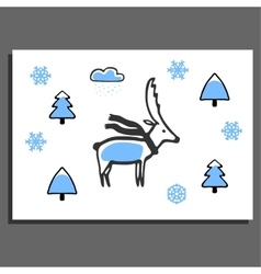 Greeting card with deer in scarf vector image