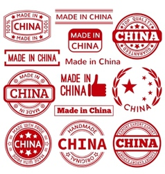 Set of various Made in China red graphics vector image