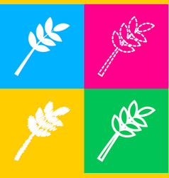 tree branch sign four styles of icon on four vector image vector image