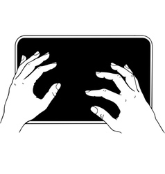 Typing on tablet pc vector image vector image