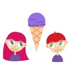a girl and boy with ice cream vector image
