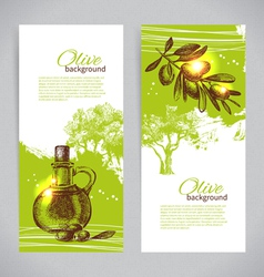 Banner set of vintage olive background vector image vector image