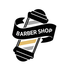 barber shop isolated logo with big vintage mirror vector image vector image