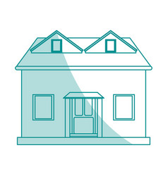 Blue shading silhouette cartoon facade house with vector