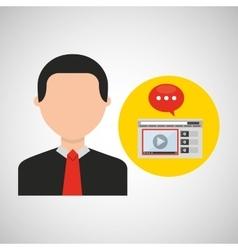 businessman movie online web icons vector image