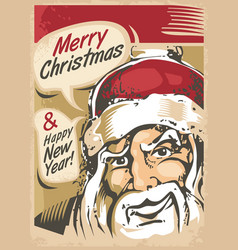 christmas card design with santa claus vector image vector image