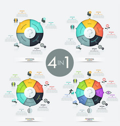 collection of 4 pie charts with multicolored vector image vector image