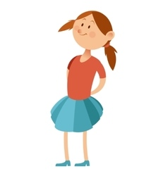 Flat little girl vector
