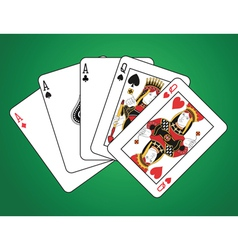 Full house of three aces and two queens vector image vector image