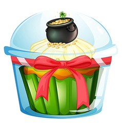 A cupcake with a pot of coins vector image
