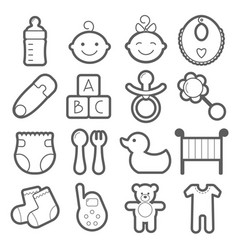 baby icons set isolated on white background vector image vector image