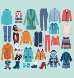 fashion collection of winter woman wardrobe vector image vector image