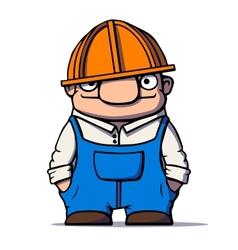 Funny cartoon worker builder plumber vector image
