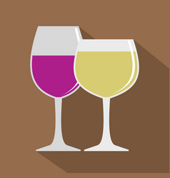 glasses with red and white wine icon flat style vector image
