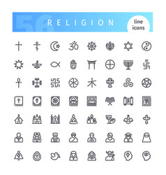 religion line icons set vector image